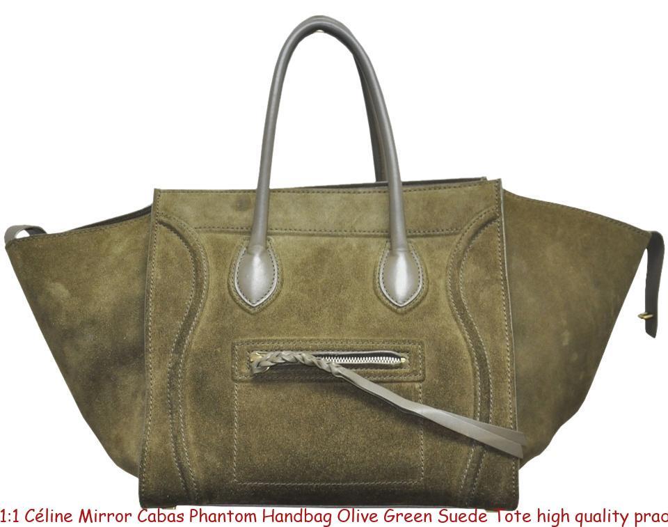 416e9fe1489e 1:1 Céline Mirror Cabas Phantom Handbag Olive Green Suede Tote high quality  prada replica handbags