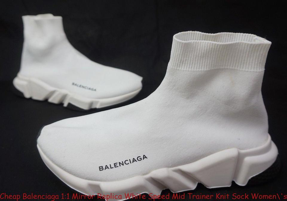 a115f7379f19 Cheap Balenciaga 1:1 Mirror Replica White Speed Mid Trainer Knit Sock ...