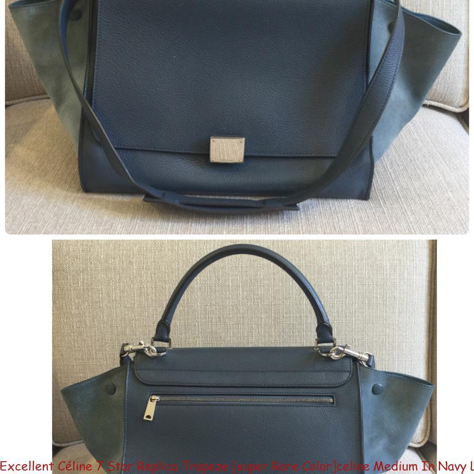 Excellent Céline 7 Star Replica Trapeze  super Rare Color celine Medium In  Navy Leather Tote luxury 7 star replica handbags d3b76b1ec1c86