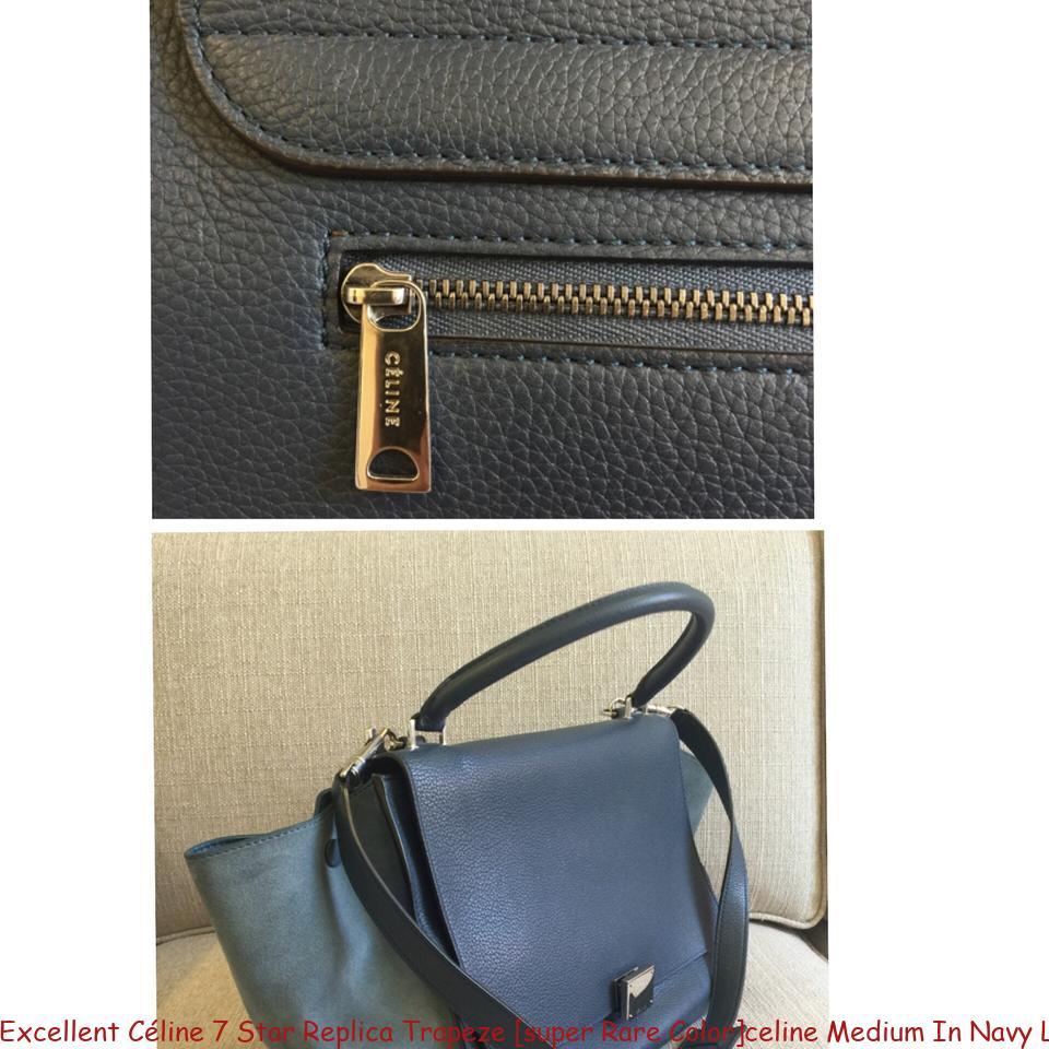 8a12f9e26754 Excellent Céline 7 Star Replica Trapeze  super Rare Color celine Medium In  Navy Leather Tote luxury 7 star replica handbags