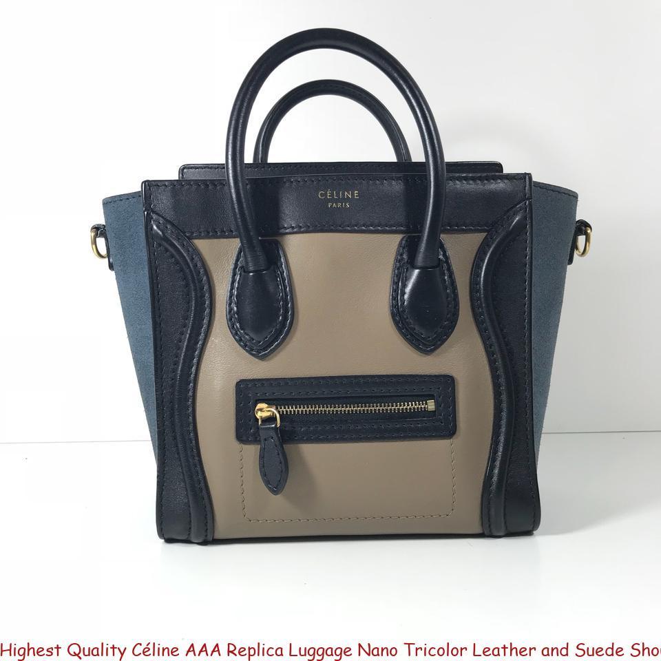 Highest Quality Céline AAA Replica Luggage Nano Tricolor Leather and Suede Shoulder  Bag fake designer bags uk c0fda8f0779e9