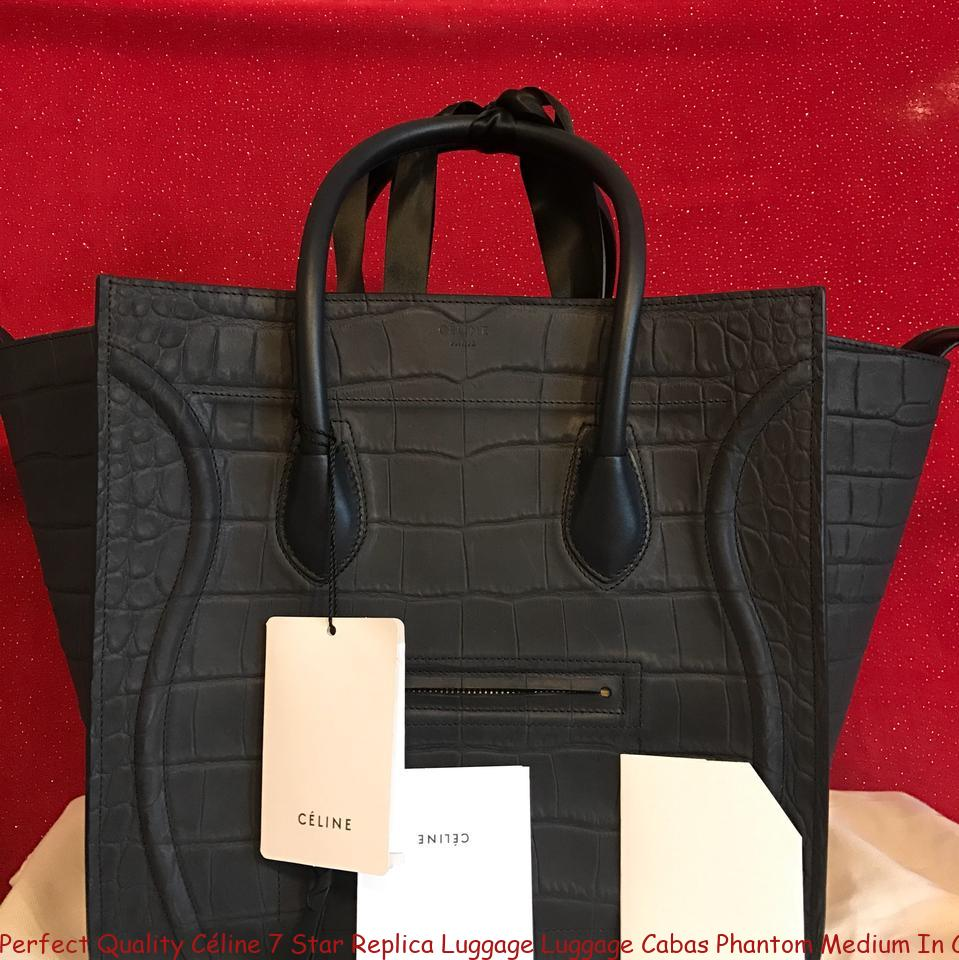 00d369103a7c Perfect Quality Céline 7 Star Replica Luggage Luggage Cabas Phantom Medium  In Croc Navy Nubuck Satchel celine crossbody bag