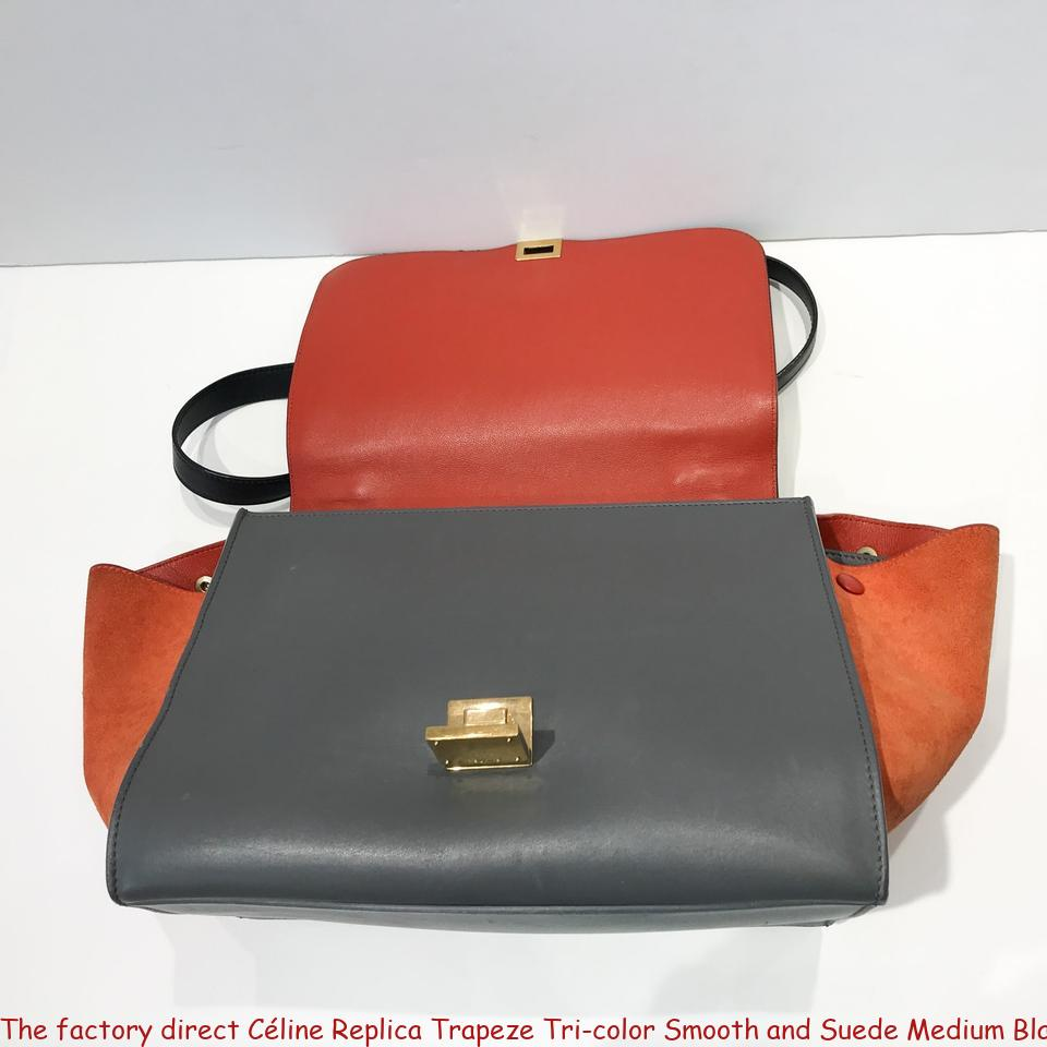 a9c6fc582 The factory direct Céline Replica Trapeze Tri-color Smooth and Suede Medium  Black / Grey / Orange Leather Tote replica handbags