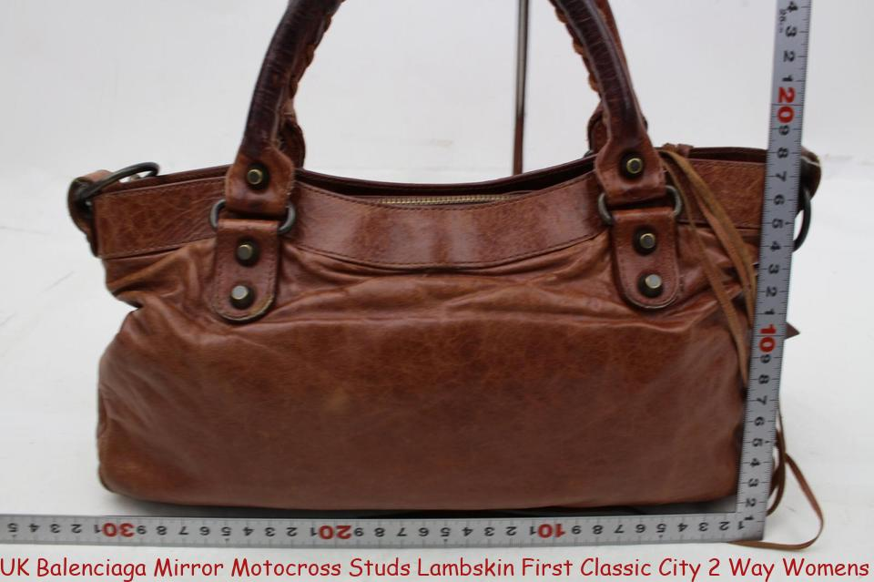 Uk Balenciaga Mirror Motocross Studs Lambskin First Classic City 2 Way Womens Handbag Brown Leather Shoulder Bag Replica