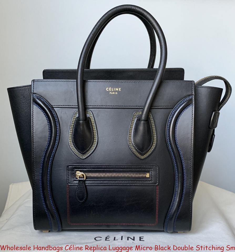 Whole Handbags Céline Replica Luggage Micro Black Double Sching Smooth Calfskin Leather Tote Celine Phantom Bag